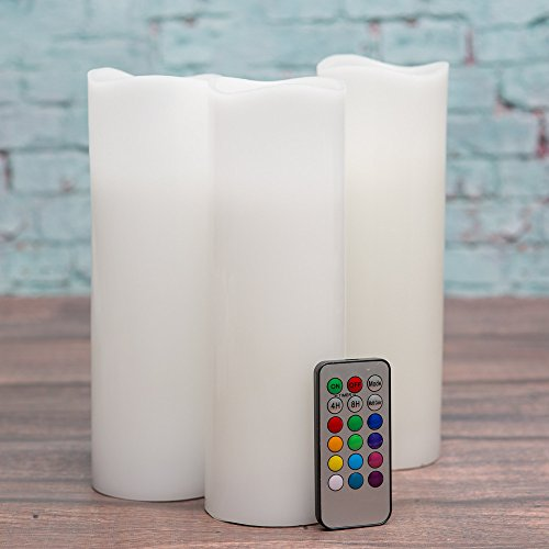 Richland Wavy Top Flameless LED Pillar Candles White 3' x 9' with Remote Control Set of 3
