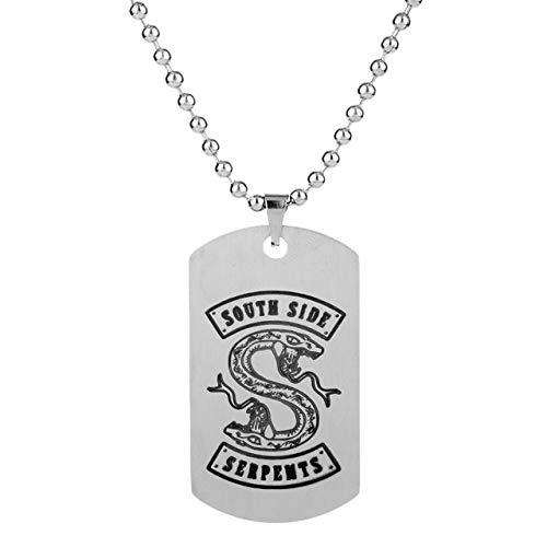 Naswi Tv-Serie Riverdale Southside Serpents Tag Anhänger Halskette Edelstahl Mode Inspiriert Schmuck Für Fans Laserdruck
