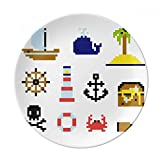 Plato de postre de porcelana decorativo, diseño de píxel de caza de verano, 20,3 cm, ideal como regalo para el hogar