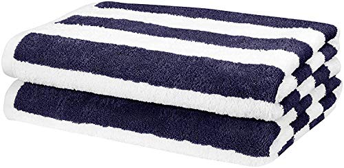 AmazonBasics Cabana Stripe Beach Towel - Pack of 2, Navy Blue