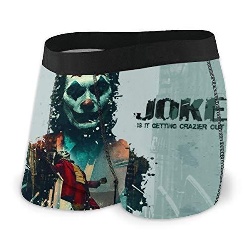 Clown Joker Herren-Unterwäsche, Stretch, Boxershorts für Männer, kurze Beine, atmungsaktiv, bequeme Faserpackung Gr. S, Schwarz