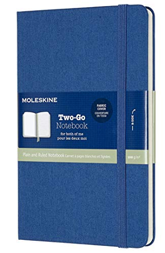 Moleskine - Cuaderno Clásico con Páginas Lisa y de Rayas, Tapa Dura en Tela y Goma Elástica, Color Azul LapisLázuli, Tamaño Medio 11.5 x 18 cm, 192 Páginas