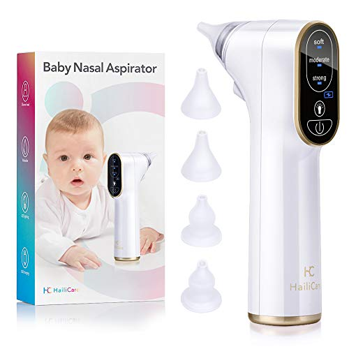 Baby Nasal Aspirator Electric, HailiCare Nose Cleaner Baby Nose Sucker and Snot Sucker Nose Suction for Newborns and Toddlers with 4 Silicone Tips and 3 Suction