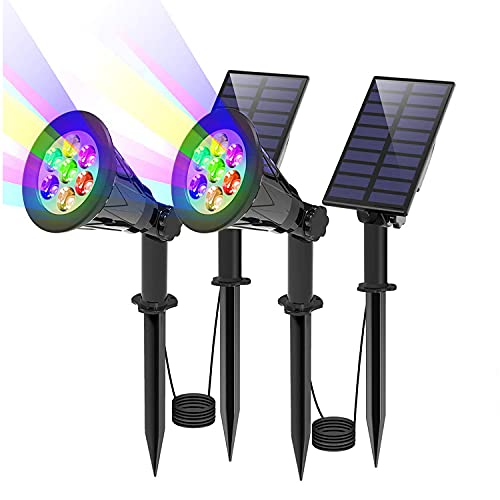 T-SUN Solar Spotlights, Separate Panel 7 LED Color Changing Waterproof Solar Landscape Garden Lights, Auto ON/OFF & Adjustable Waterproof Wall Lights for Tree,Garden,Driveway,Pool Area(Colorful-2Pack)