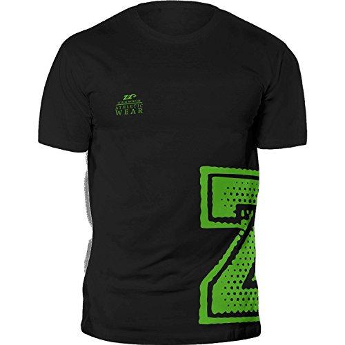 ZEC+ Herren Shirt Athletic T-Shirt Man in SCHWARZ aus 100% Baumwolle Größe L