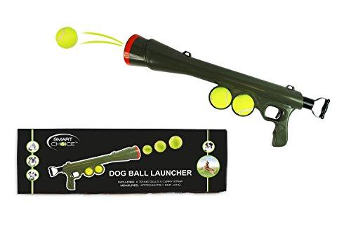 Lanzador de bolas de perro Bazooka pistola cañón juguete con bolas y correa dispara hasta 50 pies