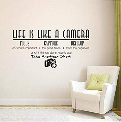 Het leven is een camera Quote Muren Home Decoratie Foto PVC Home decoratie Muursticker 68X35