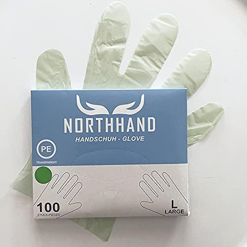 NORTHHAND PE Einmalhandschuhe 1000 Stück, PE Handschuhe grün, praktischer Spenderbox, Einweghandschuhe (Large)