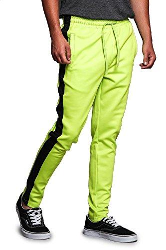 Herren Premium 4-Wege-extra dehnbarer Knöchelreißverschluss Kontrast-Außenseitenstreifen Slim Fit Kordelzug Trainingshose - Braun - Mittel