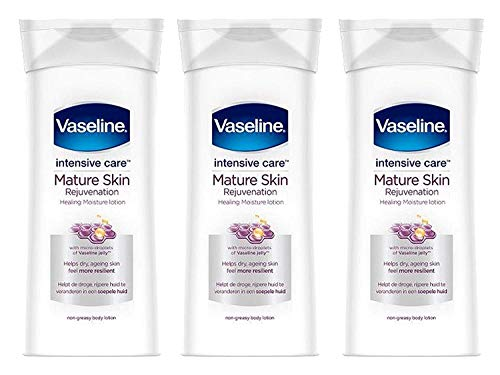 Vaseline Intensive Care Body Lotion, Rejuvenates Mature Skin with Healing Moisture Lotion, Immediate Transformation from Dry Skin to Healed and Moisturized Skin, 13.5 Ounce (Pack of 3)