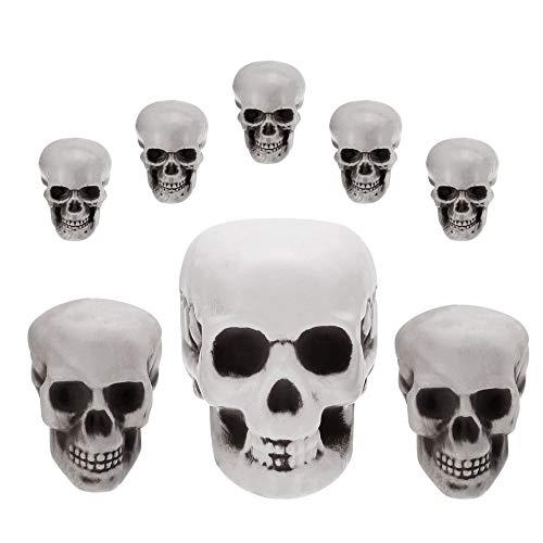 BUZIFU Calavera Decoración Halloween 8 unids Cráneos Decorativos de Plástico Adornos Halloween Calaveras Decorativas de 3 Tamaños Humanos Reales Calavera Decorada Original para Decorar Tu Casa