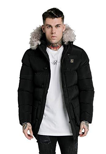 Sik Silk SS-16226 Rip Stop Puff Parka Hood Jacket - Black