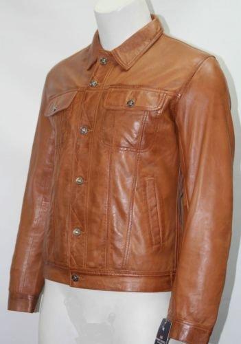 Boots and Leather Homme rafraichi TAN D'agneau souple camionneur Designer véritable blousons de cuir (UK 3XL / EU 58)