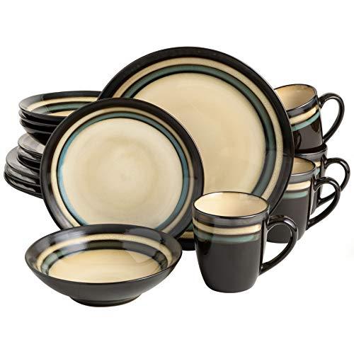 Gibson Elite Lewisville Round Reactive Glaze Stoneware Dinnerware Set, Service for 4 (16pcs), Cream/Teal
