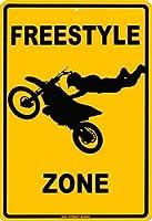 なまけ者雑貨屋 Freestyle Zone ブリキ看板ヴィンテージメタルパブクラブカフェバーホームウォールアート装飾ポスターレトロ40x30cm