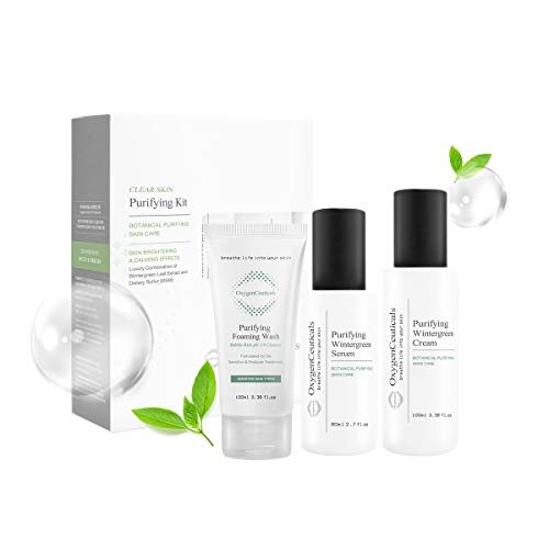 Three-Step Acne Treatment Kit, OxygenCeuticals Purifying Kit, 3 products, Face Wash Cleanser + Serum + Moisturizer, Breakout Prevention, Acne & Blemish Control, for teens, tweens, males and females, Made in Korea