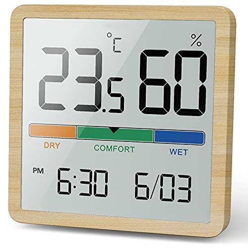 NOKLEAD Higrómetro termómetro interior, monitor de humedad de grano de madera digital de escritorio, termómetro de habitación con reloj
