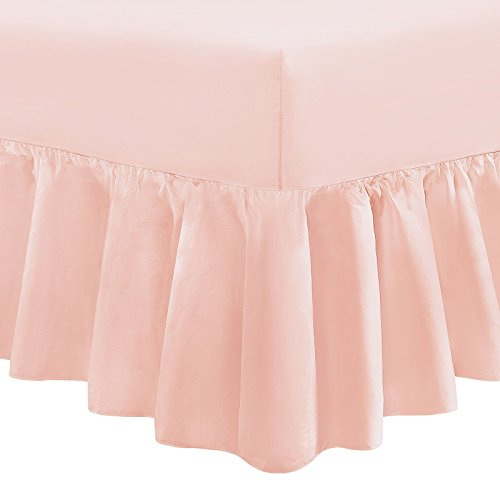 Tour de lit uni chiné 100 % percale de coton , rose poudré, Simple