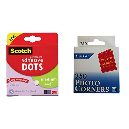 Scotch 010-300M Permanent Adhesive Glue Dots - 8 mm, Pack of 300 & The Photo Album Company Dispenser Box with 250 Photograph Photo Corner - Clear