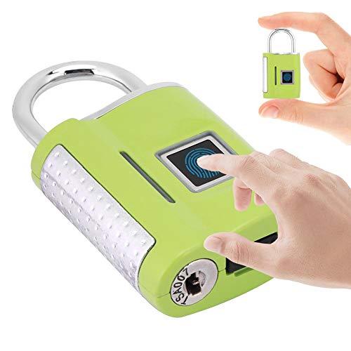Digitaal vingerafdrukslot, intelligent digitaal veiligheidsslot met USB-lader, zonder wachtwoord, 60 dagen in standby-modus, reisslot, voor school, sportkamer, rugzak., Groen