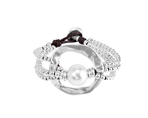 UNO de 50Pulsera de Mujer Classics bañada Piel Perla Color Blanco 1