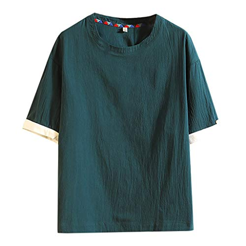 GreatestPAK Baumwolle Leinen T-Shirt Herren Kurzarm chinesischer Stil Tops Patchwork O-Ausschnitt Freizeit Hemd,Grün,5XL