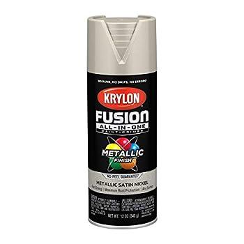 Krylon K02772007 Fusion All-In-One Spray Paint for Indoor/Outdoor Use Metallic Satin Nickel