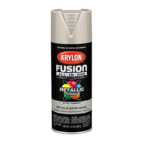 Krylon K02772007 Fusion All-In-One Spray Paint for Indoor/Outdoor Use, Metallic Satin Nickel