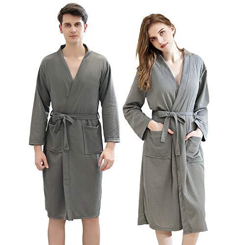 Xiang Ru - Albornoz para mujer, diseño de Kimono Gofrado gris para hombre L