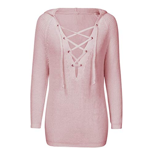 Find Bargain HNTDG Women's Fashion Autumn and Winter Long Sleeve Hooded Pullover Knitted Sweaters To...