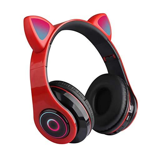 QOTSTEOS - Cuffie da gioco a forma di gatto, con luci LED lampeggianti, cuffie wireless HIFI Music Stereo Bluetooth 5.0, per smartphone, computer portatili, adulti (rosso)