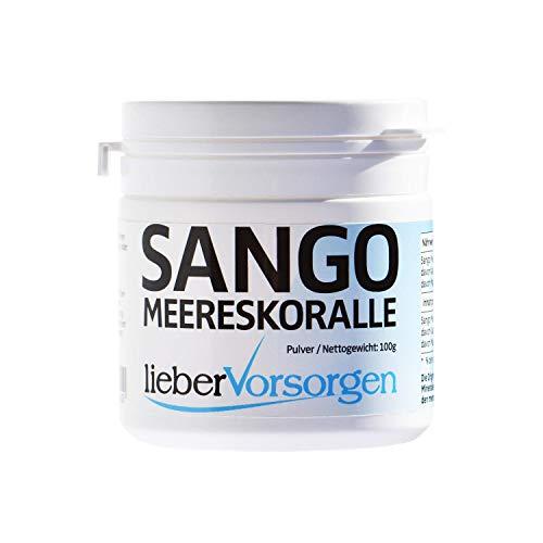 Sango Meeres Koralle Pulver 100g Natürliches Calcium und Magnesium im Verhältnis 2:1 optimale Bioverfügbarkeit Made in Germany ohne Zusätze hochdosiert Laborgeprüft in Deutschland
