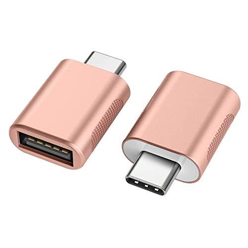 nonda NDMARGLCM, Adattatore da USB C a USB 3.0 (2 Pezzi),Adattatore OTG da Thunderbolt 3 a USB Femmina per MacBook Pro2019, MacBook Air 2020, iPad Pro 2020, Altri dispositivi con USB Tipo C (Oro Rosa)