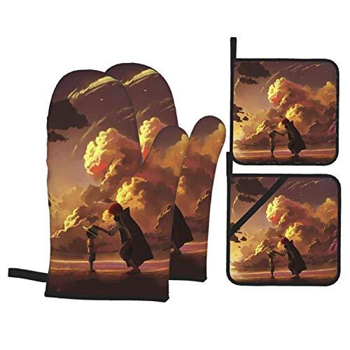 Luffy - Juego de 4 manoplas para horno y ollas para colgar en la cocina, antideslizante, resistente al calor, barbacoa, hornear, parrilla, guantes de horno y agarradera