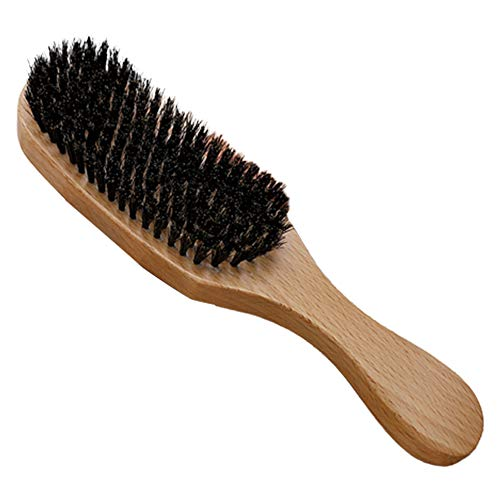 Cepillo ondulado de cerdas Pintura de haya Cerdas naturales de jabalí Mango de madera Peine para el cabello Herramienta cuidado de la barba para peinar cabello Rápidamente suave (color madera)