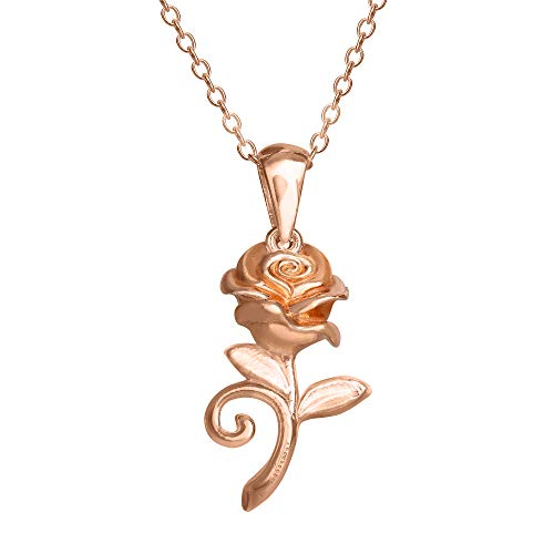 Disney Beauty and the Beast, Sterling Silver Pink Plated Rose Pendant Necklace, 18' Chain