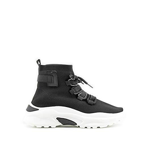 Modelisa - Zapatillas con Plataforma Estilo Calcetin con Cordón para Mujer (Negro, Numeric_38)