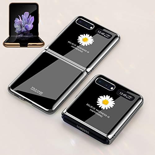 BaiFu Superdünne Hülle für Samsung Galaxy Z Flip Handyhülle PC + 9H Gehärtete Glasabdeckung All-Inclusive Anti-Fall Leopard Print Stoßfester Schutz für Samsung Galaxy Z Flip-Gänseblümchen