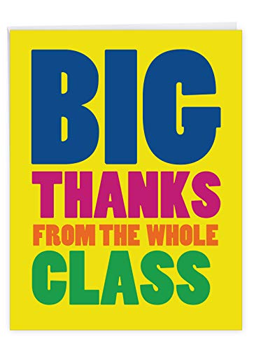 NobleWorks - Jumbo Funny Card for Graduation (8.5 x 11 Inch) - Big Humor Greeting Notecard for Students, Graduate - Big Thanks From The Class
