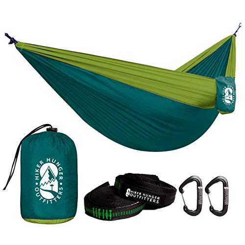 Hiker Hunger Outdoor Camping Hammock- Large Double Size, Portable & Lightweight with 10' Tree Straps & Wiregate Aluminum Carabiners. Ripstop Parachute Nylon,for Hiking, Camping, Travel & Backpacking