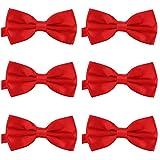 DonDon Set de 6 Pajarita para hombre de 12 x 6 cm ajustable y lista para usar Rojo