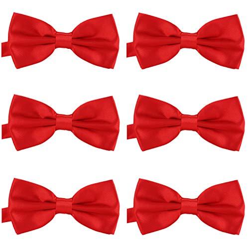 DonDon Lot de 6 Noeud papillon pour homme 12 x 6 cm avec crochet déjà lié et réglable Rouge