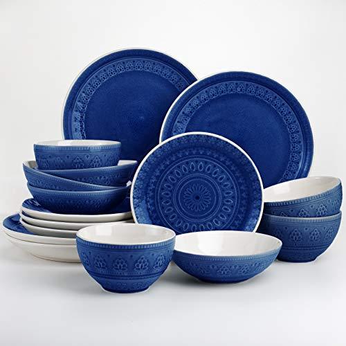 Euro Ceramica FEZ-86621B Fez Reactive Crackle-Glaze Serveware Collection, Teardrop Mandala Design, Service for 4, Blue 16-Piece Double Bowl Dinnerware Set