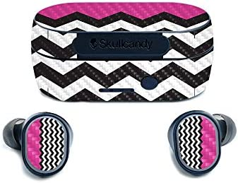 MightySkins Carbon Fiber Skin for Skullcandy Sesh True Wireless Earbuds Hot Pink Chevron Protective product image