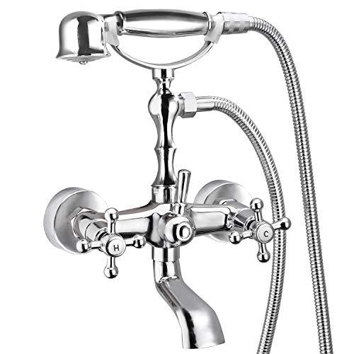 Aolemi Polish Chrome Bathtub Faucet with Handheld Shower Sprayer Wall Mount Double Cross Handle Mixer Tap Vintage Telephone Shaped Hand Sprayer Shower Set