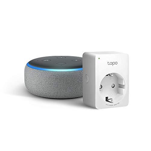 Echo Dot (3.ª generación), tela de color gris oscuro +Tapo P100 Enchufe inteligente, compatible con Alexa