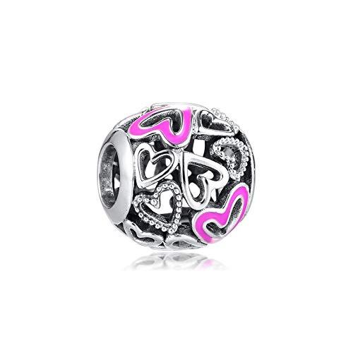 LIIHVYI Pandora Charms para Mujeres Cuentas Plata De Ley 925 Joyas Rosa Calado Mano Corazón Oso Compatible con Pulseras Europeos Collars