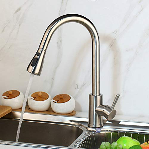 TAOZIAA eengreepsmengkraan van geborsteld nikkel, keukenkraan, afneembare kraan, messing, afdekplaat, 1 greep, keukenkraan