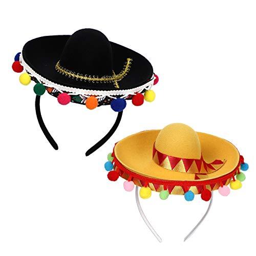 Save %14 Now! Fuayge 2020 Cinco De Mayo Sombrero Headband, Fiesta Sombrero Party Hats with Ball Frin...