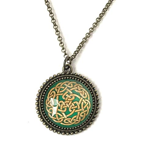 Celtic Knot Necklace for Women - Green and Tan Design